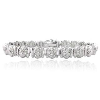 DB Designs Silvertone 1ct TDW Diamond Oval Link Bracelet (I-J, I2-I3)