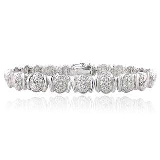 DB Designs Silvertone 1ct TDW Diamond Oval Link Bracelet