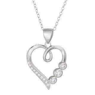 Fremada Rhodium-plated Silver Cubic Zirconia Three Birthstone Heart Necklace