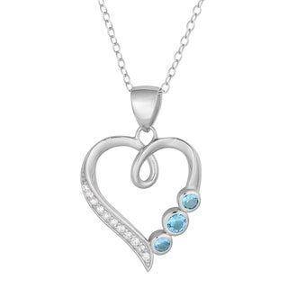 Fremada Rhodium-plated Silver Cubic Zirconia Three Birthstone Heart Necklace