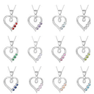 Fremada Rhodium-plated Silver Cubic Zirconia Three Birthstone Heart Necklace (More options available)