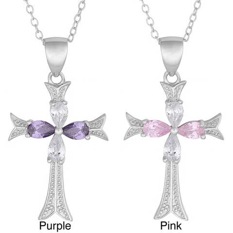 Fremada Rhodium-plated Sterling Silver Cubic Zirconia Cross Necklace