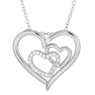 Fremada Sterling Silver Cubic Zirconia Triple Heart Necklace (18 inch)