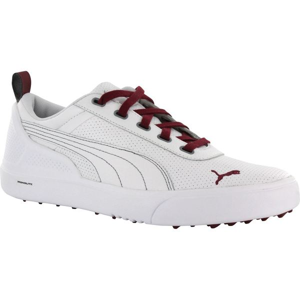 Shop Puma Mens Monolite Spikeless White  Pomegranate Golf Shoes ... 1b2ca8714
