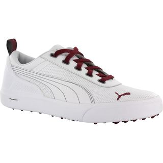 Puma Mens Monolite Spikeless White/ Pomegranate Golf Shoes