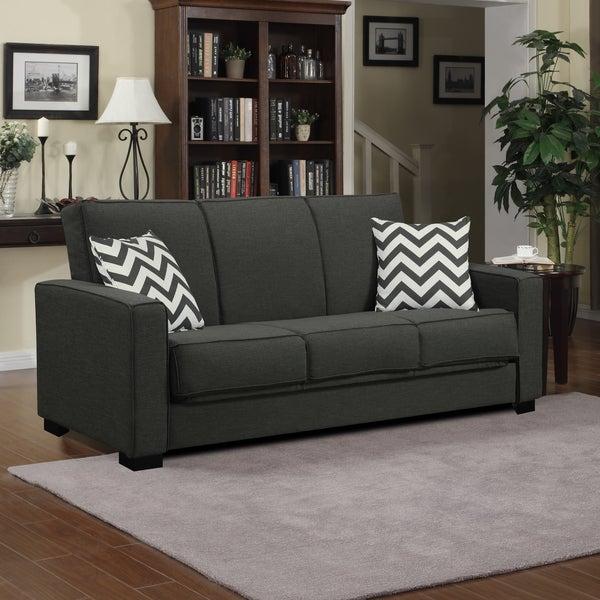 Handy Living Mali Convert-a-Couch Charcoal Gray Linen Futon Sofa Sleeper