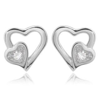 Journee Collection Women's Sterling Silver Cubic Zirconia Heart Stud Earrings