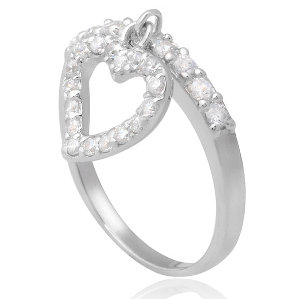 Journee Collection Sterling Silver Cubic Zirconia Dangle Heart Ring