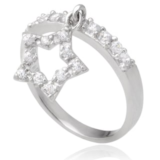 Journee Collection Sterling Silver Cubic Zirconia Dangle Star Ring