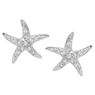 Journee Collection Sterling Silver Cubic Zirconia Starfish Earrings