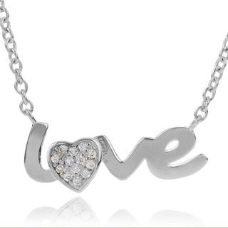 Journee Collection Sterling Silver Cubic Zirconia Love Pendant