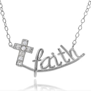 Journee Collection Sterling Silver Cubic Zirconia Faith Pendant