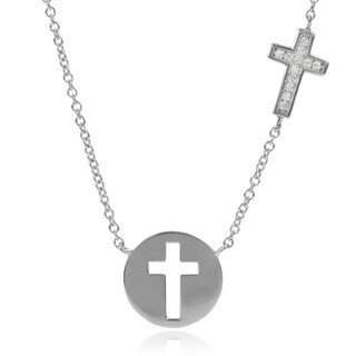 Journee Collection Sterling Silver Cubic Zirconia Cutout Cross Pendant