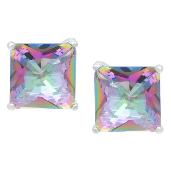 Journee Collection Sterling Silver Cubic Zirconia Square Stud Earrings