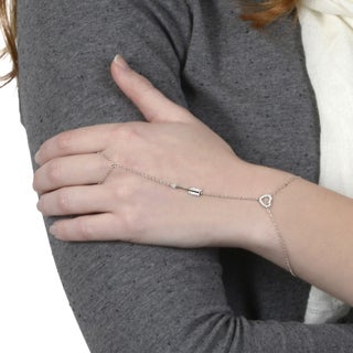 Journee Collection Sterling Silver Cubic Zirconia Heart Ring to Wrist Bracelet