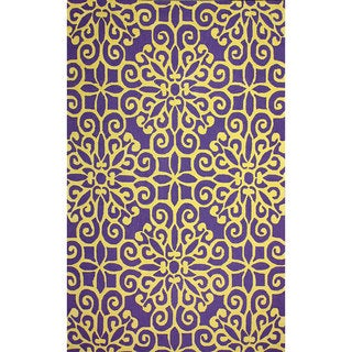 nuLOOM Handmade Cotton/ Wool Damask Lattice Purple Rug (7'6 x 9'6)