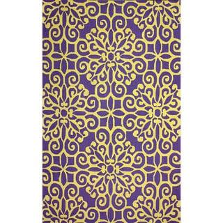 nuLOOM Handmade Cotton/ Wool Damask Lattice Purple Rug (7'6 x 9'6)