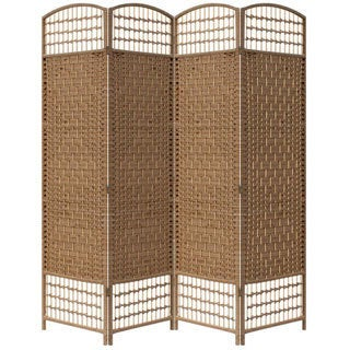 Hand-crafted 4-panel Brown Paper Straw Weave Screen