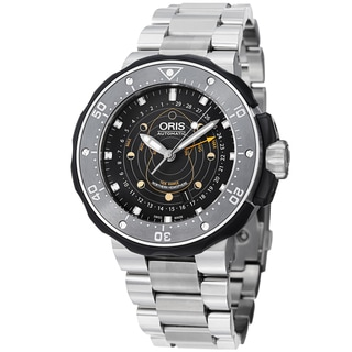 Oris Men's 761 7682 7154 RS 'Moon pointer' Black Dial Titanium Bracelet Watch
