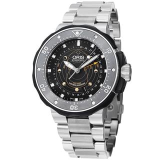 Oris Men's 761 7682 7154 RS 'Moon pointer' Black Dial Titanium Bracelet Watch
