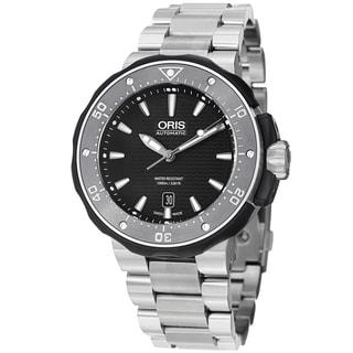 Oris Men's 733 7682 7154 MB 'Pro Divers' Black Dial Titanium Bracelet Watch