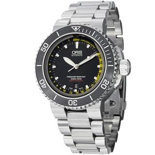 Oris Men's 733 7675 4154 MB 'Aquis Depth Gauge' Black Dial Titanium Bracelet Watch