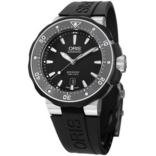 Oris Men's 733 7682 7154 RS 'Pro Divers' Black Dial Black Rubber Strap Titanium Watch