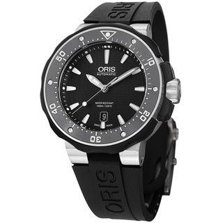 Oris Men's 733 7682 7154 RS 'Pro Divers' Black Dial Black Rubber Strap Titanium Watch