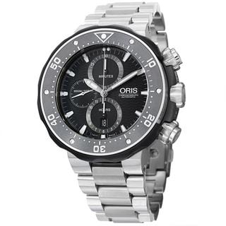 Oris Men's 774 7683 7154 SET 'Pro Divers' Black Dial Chrono Titanium Bracelet Watch