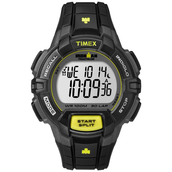 Timex Men's T5K790 Ironman Traditional 30-lap Rugged Full-size Black/ Yellow Watch