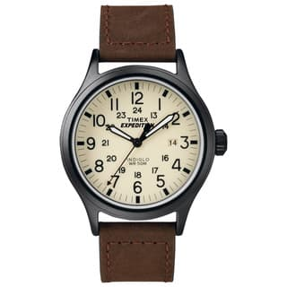 Timex Men's T49963 Expedition Scout Brown Leather Strap Watch|https://ak1.ostkcdn.com/images/products/8815185/P16049489.jpg?impolicy=medium