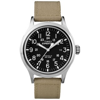 Timex T499629J Men's 'Expedition Scout' Tan Nylon Strap Watch - black