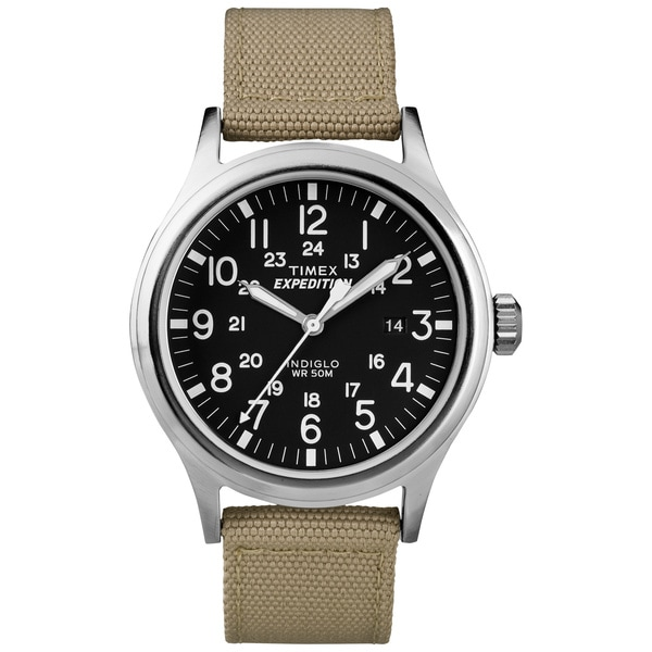 a371acfc2 Shop Timex T499629J Men's 'Expedition Scout' Tan Nylon Strap Watch - Black  - Free Shipping Today - Overstock - 8815187