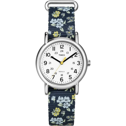 Timex Women's T2P370 Weekender 31 Blue Floral Nylon Slip-Thru Strap Watch - blue floral print