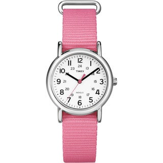 Timex T2P3689J Women's 'Weekender' Coral Slip-thru Nylon Strap Watch