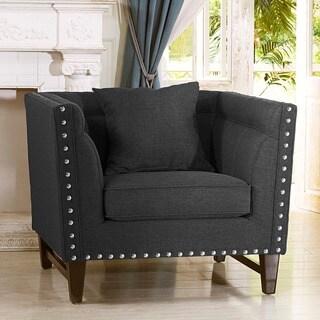 Baxton Studio Stapleton Gray Linen Modern Accent Chair