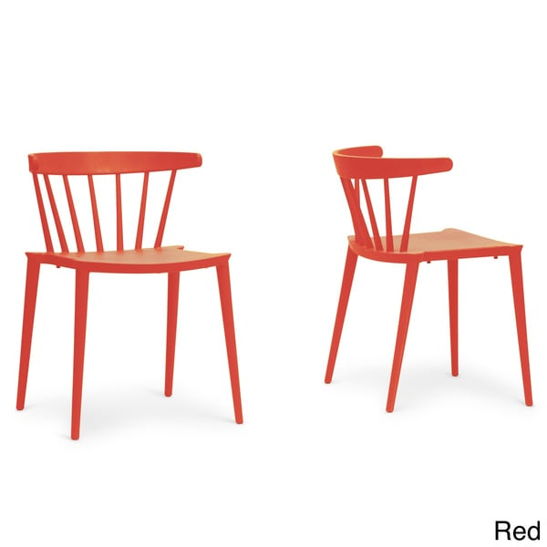 Baxton studio finchum red plastic stackable modern dining for Plastic modern chairs