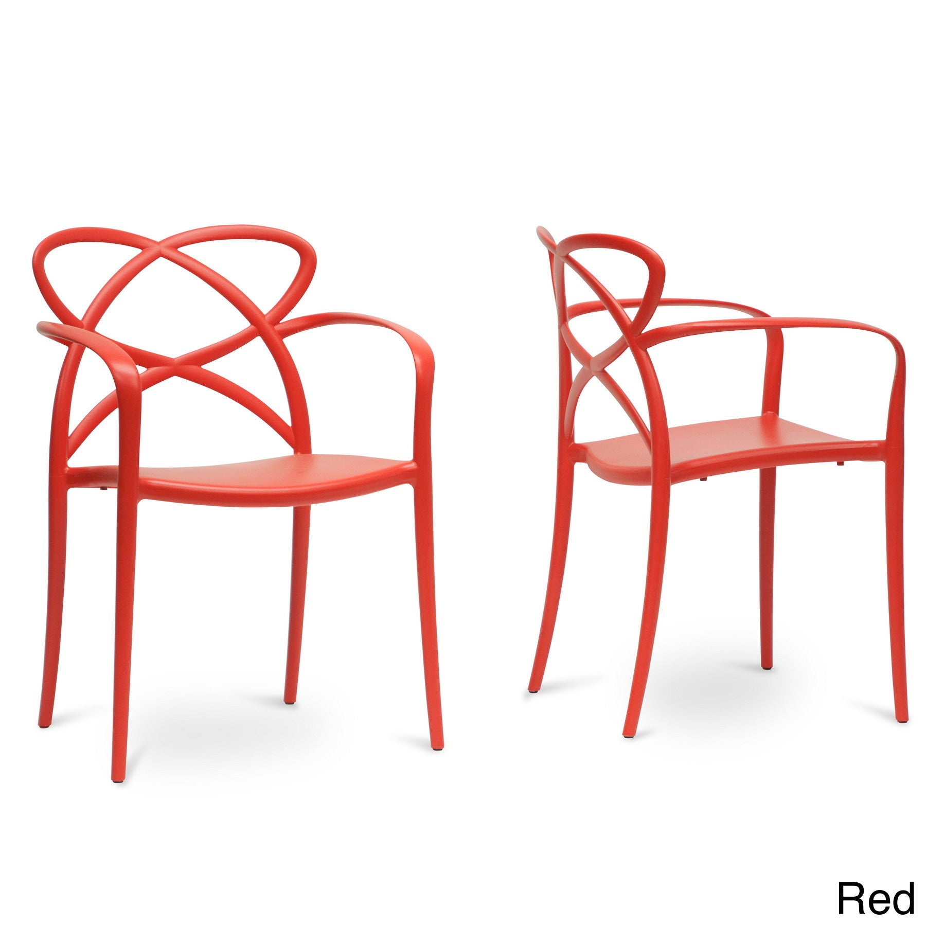 Baxton Studio Huxx Plastic Stackable Modern Dining Chair Set of 2