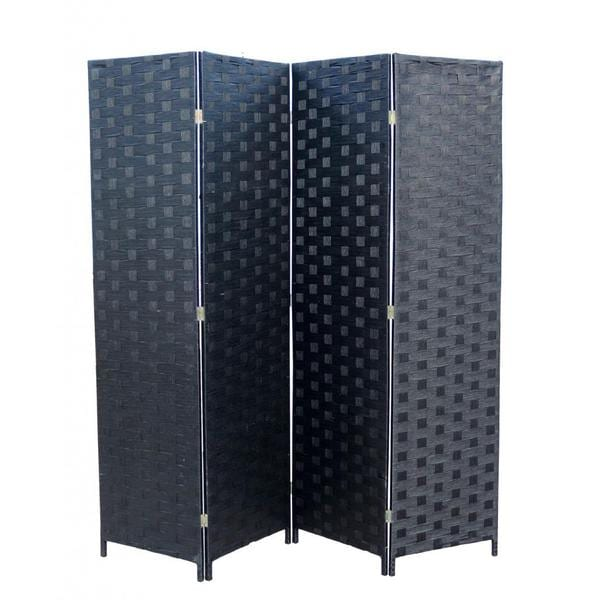 Hand-crafted 4-panel Black Paper Straw Weave Screen