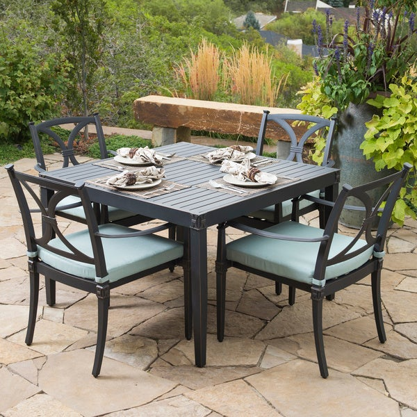 RST Brands Astoria Aluminum 5 Piece Outdoor Cafe Dining Set With Cushions