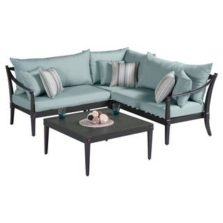 Astoria Aluminum 4-piece Outdoor Sectional and Conversation Table Set with Cushions