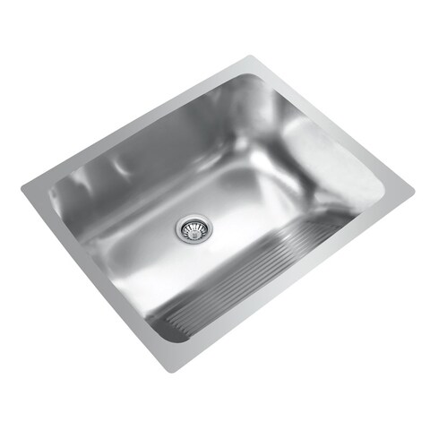 Ukinox Single Basin Stainless Steel Dual Mount Washboard Laundry Sink