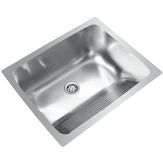 Best Utility Sink : ... Single Basin Stainless Steel Dual Mount Laundry Sink with washboard