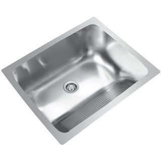 Ukinox Single Basin Stainless Steel Dual Mount Washboard Laundry Sink