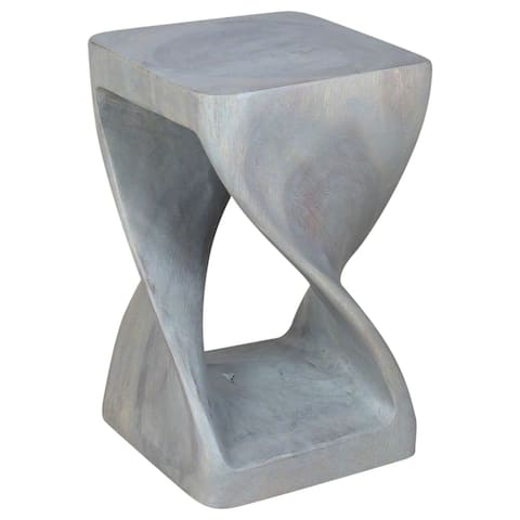 Haussmann Handmade Wood Original Twist Stool 10 in SQ x 16 in H Agate Grey Oil - 10 x 10 x 16