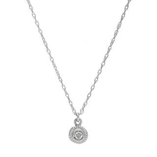 14k White Gold Diamond Accent Bezel-set Necklace (G-H, SI1-SI2)