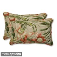 Outdoor Botanical Glow Tropical Rectangular Throw Pillow (Set of 2)