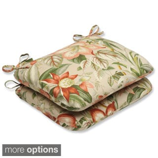 Outdoor Botanical Glow Rounded Corners Tropical Seat Cushion (Set of 2)