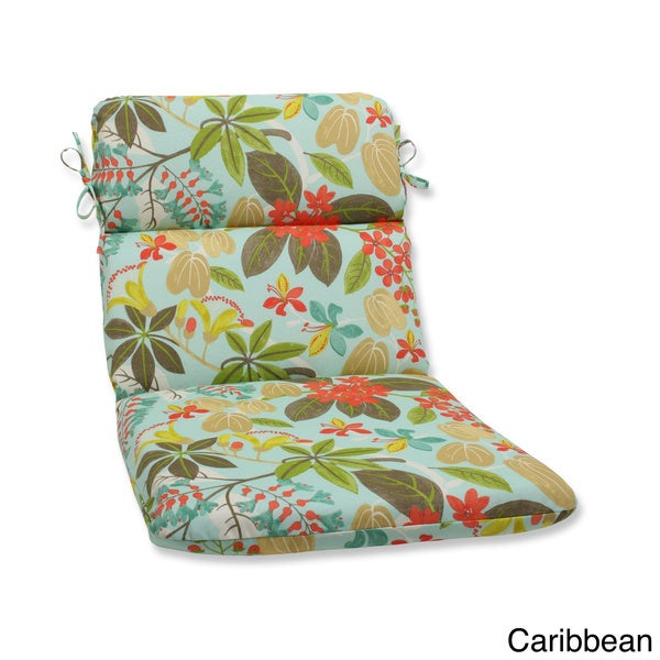 Outdoor Fancy A Floral Rounded Corners Chair Cushion With Ties