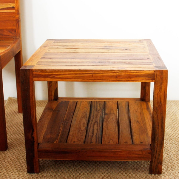 Teak Oil Coffee Table: Handmade Oak Oil Teak Inlay End Table (Thailand)